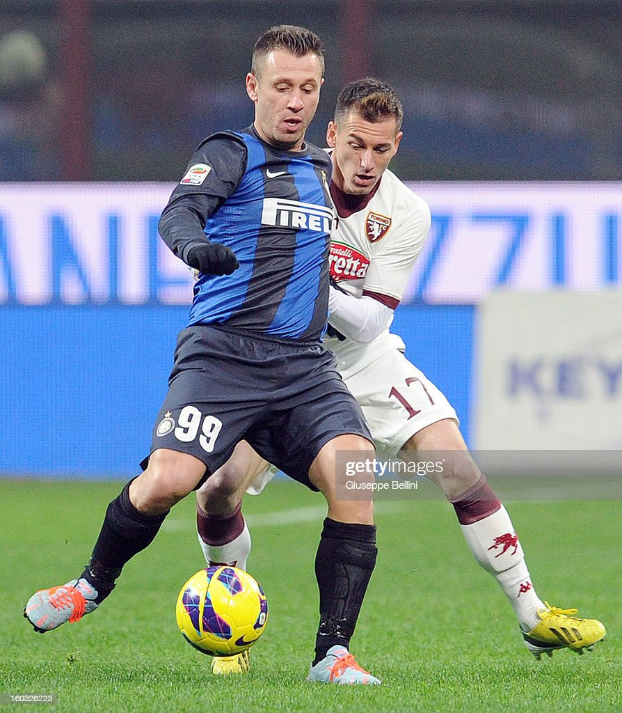 Antonio Cassano of Inter and Salvatore Masiello of Torino in action during the Serie A match between FC Internazionale Milano and Torino FC at San Siro Stadium on January 27, 2013 in Milan, Italy.