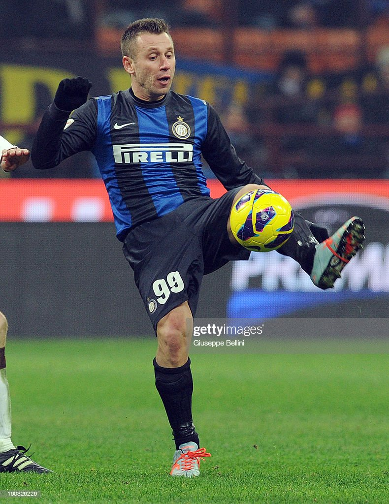 Antonio Cassano of Inter in action during the Serie A match between FC Internazionale Milano and Torino FC at San Siro Stadium on January 27, 2013 in Milan, Italy.