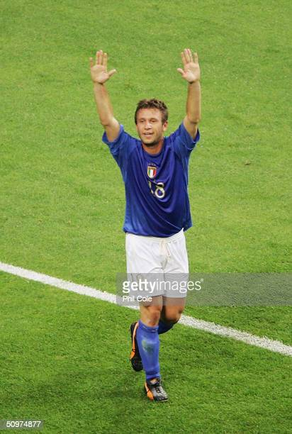 Antonio Cassano of Italy celebrates after scoring against Sweden during the UEFA Euro 2004 Group C match between Italy and Sweden at the Estadio...