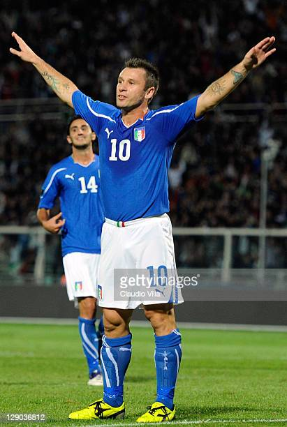 Antonio Cassano of Italy celebrates after scoring the opening goal of the UEFA EURO 2012 group C qualifying match between Italy and Northern Ireland...