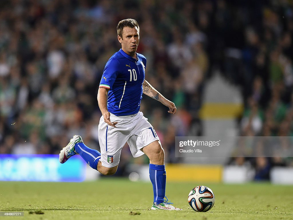 <a gi-track='captionPersonalityLinkClicked' href=/galleries/search?phrase=Antonio+Cassano&family=editorial&specificpeople=214558 ng-click='$event.stopPropagation()'>Antonio Cassano</a> of Italy in action during the International Friendly match between Italy and Ireland at Craven Cottage on May 31, 2014 in London, England.