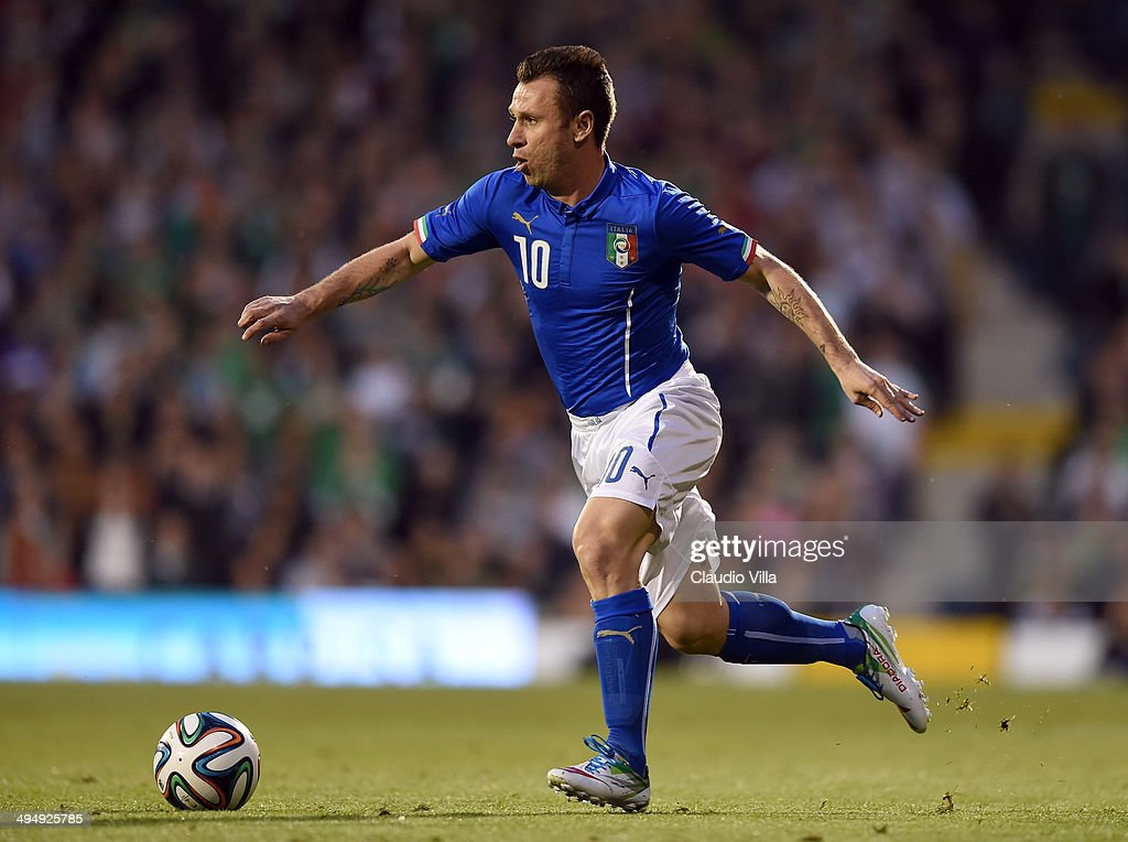 Antonio Cassano of Italy in action during the International Friendly match between Italy and Ireland at Craven Cottage on May 30, 2014 in London, England.
