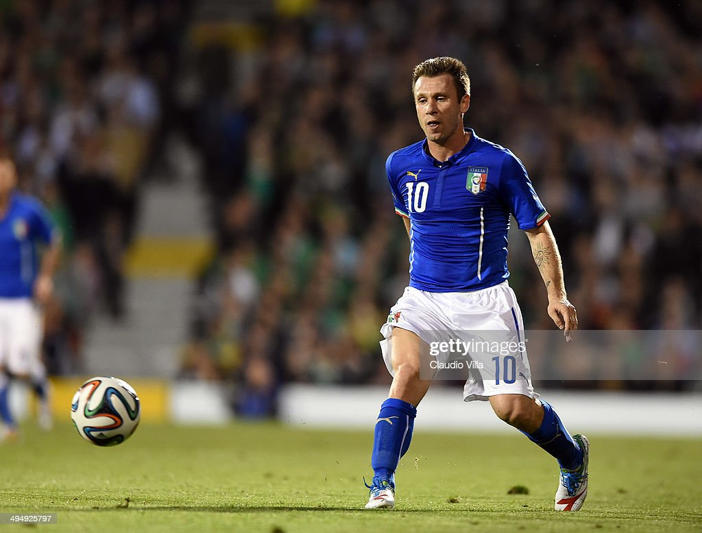 <a gi-track='captionPersonalityLinkClicked' href=/galleries/search?phrase=Antonio+Cassano&family=editorial&specificpeople=214558 ng-click='$event.stopPropagation()'>Antonio Cassano</a> of Italy in action during the International Friendly match between Italy and Ireland at Craven Cottage on May 30, 2014 in London, England.