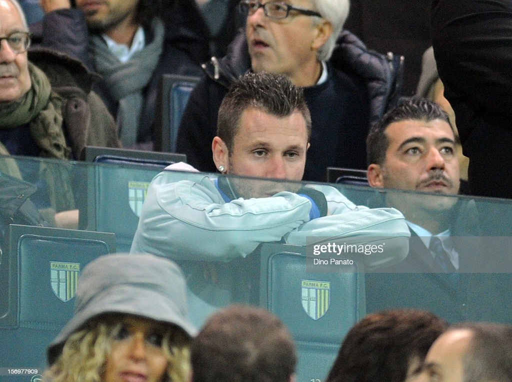 <a gi-track='captionPersonalityLinkClicked' href=/galleries/search?phrase=Antonio+Cassano&family=editorial&specificpeople=214558 ng-click='$event.stopPropagation()'>Antonio Cassano</a> of match between Parma FC and FC Internazionale Milano looks on during the Serie A match between Parma FC and FC Internazionale Milano at Stadio Ennio Tardini on November 26, 2012 in Parma, Italy.
