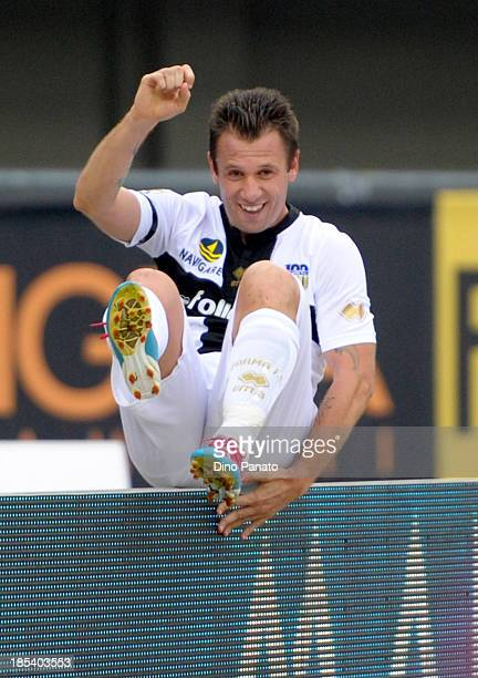 Antonio Cassano of Parma celebrates after scoring his teams second goal during the Serie A match between Hellas Verona FC and Parma FC at Stadio...