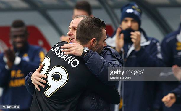 Antonio Cassano of Parma FC celebrates his goal with Agostino Tibaudi during the Serie A match between AC Chievo Verona and Parma FC at Stadio...