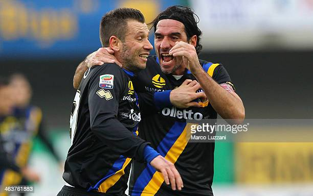 Antonio Cassano of Parma FC celebrates his goal with teammate Alessandro Lucarelli during the Serie A match between AC Chievo Verona and Parma FC at...