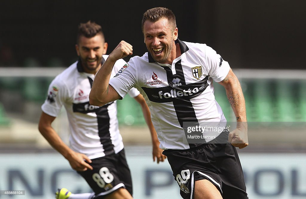 <a gi-track='captionPersonalityLinkClicked' href=/galleries/search?phrase=Antonio+Cassano&family=editorial&specificpeople=214558 ng-click='$event.stopPropagation()'>Antonio Cassano</a> of Parma FC celebrates his seond goal during the Serie A match between AC Chievo Verona and Parma FC at Stadio Marc'Antonio Bentegodi on September 21, 2014 in Verona, Italy.