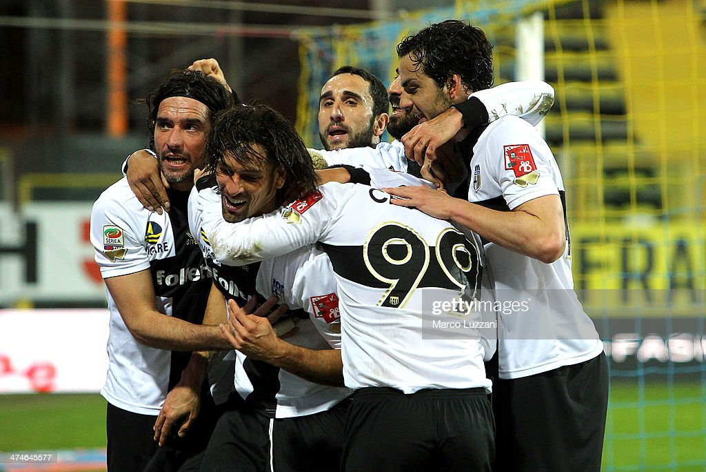 <a gi-track='captionPersonalityLinkClicked' href=/galleries/search?phrase=Antonio+Cassano&family=editorial&specificpeople=214558 ng-click='$event.stopPropagation()'>Antonio Cassano</a> #99 of Parma FC celebrates with his team-mates after scoring the opening goal during the Serie A match between Parma FC and ACF Fiorentina at Stadio Ennio Tardini on February 24, 2014 in Parma, Italy.