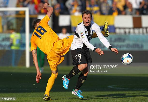 Antonio Cassano of Parma FC competes for the ball with Vangelis Moras of Hellas Verona FC during the Serie A match between Parma FC and Hellas Verona...