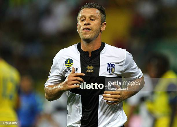 Antonio Cassano of Parma FC looks on during the Serie A match between Parma FC and AC Chievo Verona at Stadio Ennio Tardini on August 25 2013 in...