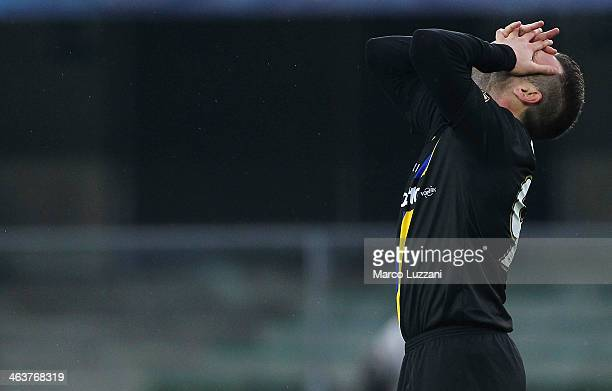 Antonio Cassano of Parma FC reacts to a missed chance during the Serie A match between AC Chievo Verona and Parma FC at Stadio Marc'Antonio Bentegodi...