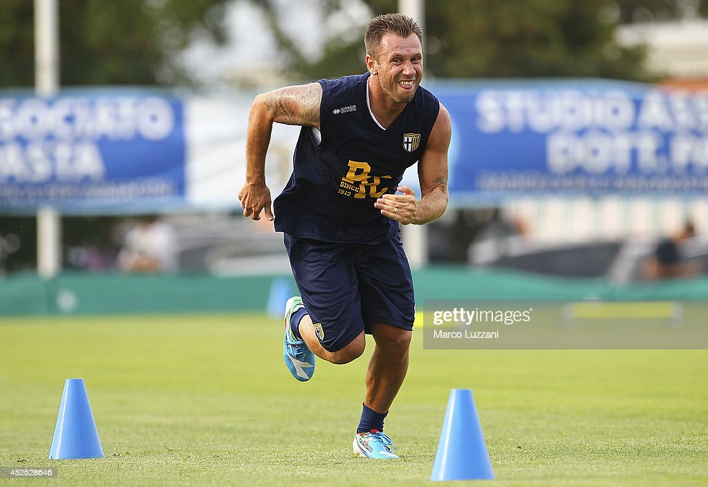 <a gi-track='captionPersonalityLinkClicked' href=/galleries/search?phrase=Antonio+Cassano&family=editorial&specificpeople=214558 ng-click='$event.stopPropagation()'>Antonio Cassano</a> of Parma FC runs during FC Parma Training Session at the club's training ground on July 22, 2014 in Collecchio, Italy.