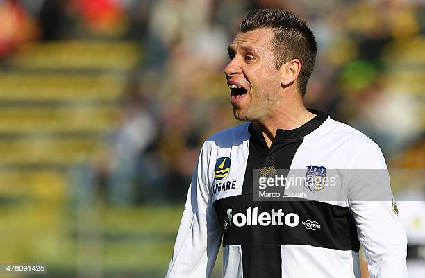 Antonio Cassano of Parma FC shouts during the Serie A match between Parma FC and Hellas Verona FC at Stadio Ennio Tardini on March 9 2014 in Parma...
