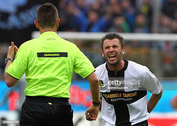 Antonio Cassano of Parma FC shouts to referee Gianluca Rocchi during the Serie A match between Parma FC and FC Internazionale Milano at Stadio Ennio...