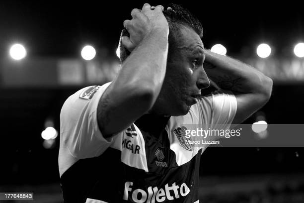 Antonio Cassano of Parma FC shows his dejection during the Serie A match between Parma FC and AC Chievo Verona at Stadio Ennio Tardini on August 25...