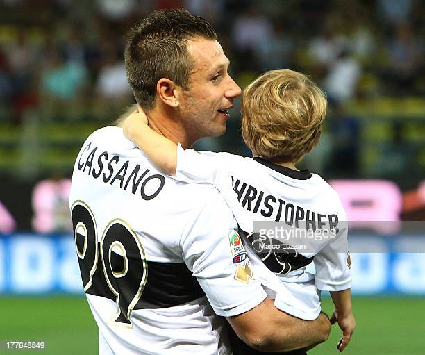 Antonio Cassano of Parma FC with his son Christpher before the Serie A match between Parma FC and AC Chievo Verona at Stadio Ennio Tardini on August...