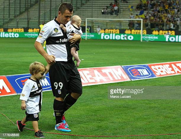 Antonio Cassano of Parma FC with his sons Christpher and Lionel before the Serie A match between Parma FC and AC Chievo Verona at Stadio Ennio...