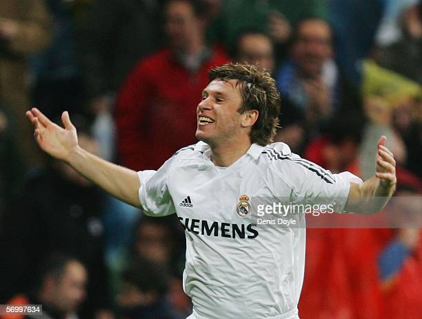Antonio Cassano of Real Madrid celebrates after scoring a goal during the Primera Liga match between Real Madrid and Atletico Madrid at the Santiago...