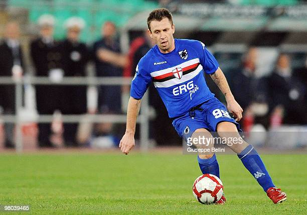 Antonio Cassano of Sampdoria in action during the Serie A match between AS Bari and UC Sampdoria at Stadio San Nicola on March 24 2010 in Bari Italy