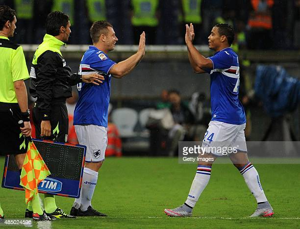 Antonio Cassano of UC Sampdoria comes on as a substitute for Luis Muriel during the Serie A match between UC Sampdoria and Carpi FC at Stadio Luigi...
