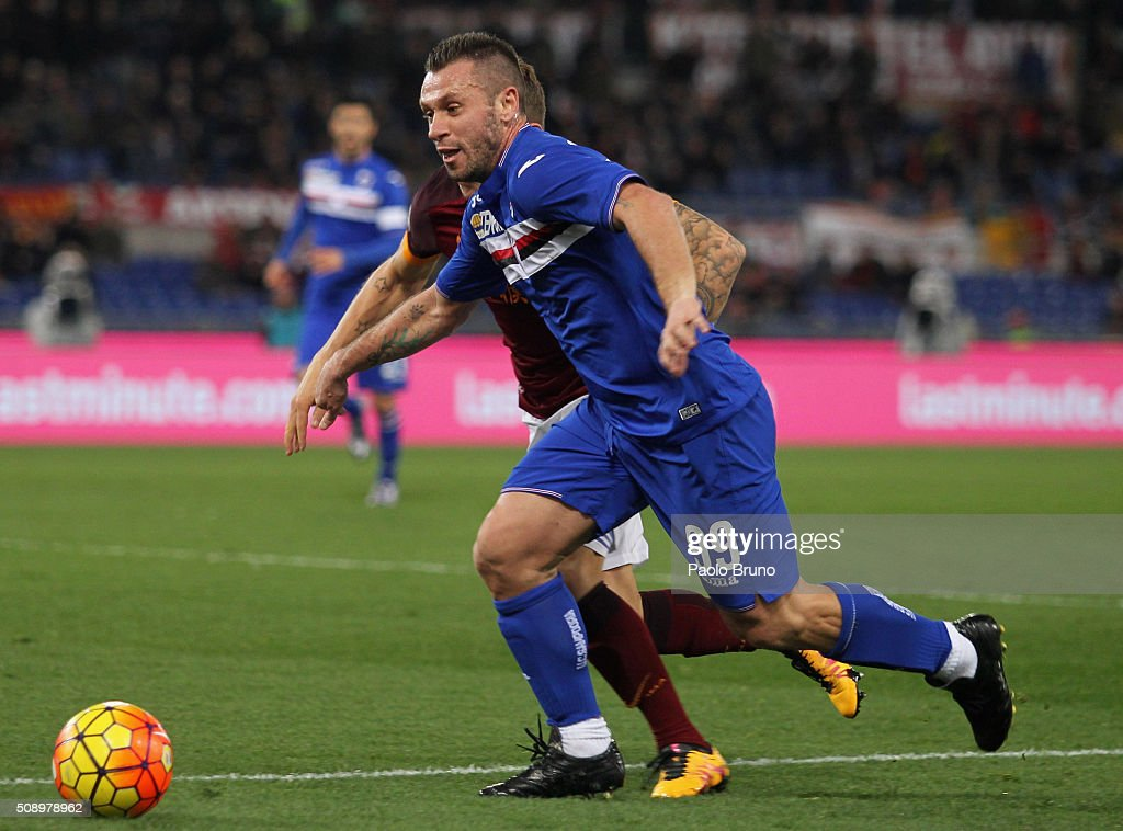 <a gi-track='captionPersonalityLinkClicked' href=/galleries/search?phrase=Antonio+Cassano&family=editorial&specificpeople=214558 ng-click='$event.stopPropagation()'>Antonio Cassano</a> of UC Sampdoria in action during the Serie A match between AS Roma and UC Sampdoria at Stadio Olimpico on February 7, 2016 in Rome, Italy.