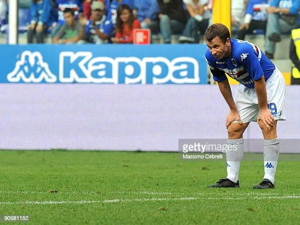 Antonio Cassano of UC Sampdoria in action during the Serie A match between UC Sampdoria and AC Siena at the Luigi Ferraris Stadium on September 20...