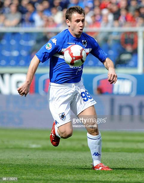 Antonio Cassano of UC Sampdoria in action during the Serie A match between UC Sampdoria and Cagliari Calcio at Stadio Luigi Ferraris on March 28 2010...