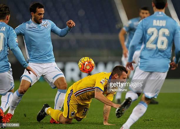 Antonio Cassano of UC Sampdoria is fauled by Santiago Gentiletti of SS Lazio during the Serie A match betweeen SS Lazio and UC Sampdoria at Stadio...