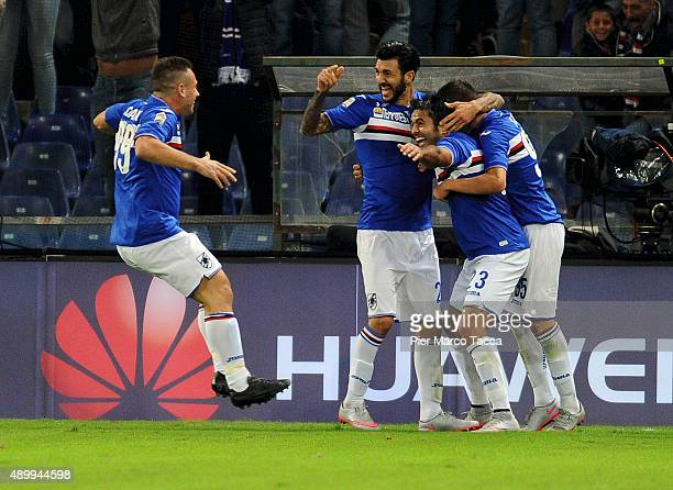 Antonio Cassano Roberto Soriano and Citadin Eder of UC Sampdoria celebrates the victory during the Serie A match between UC Sampdoria and AS Roma at...