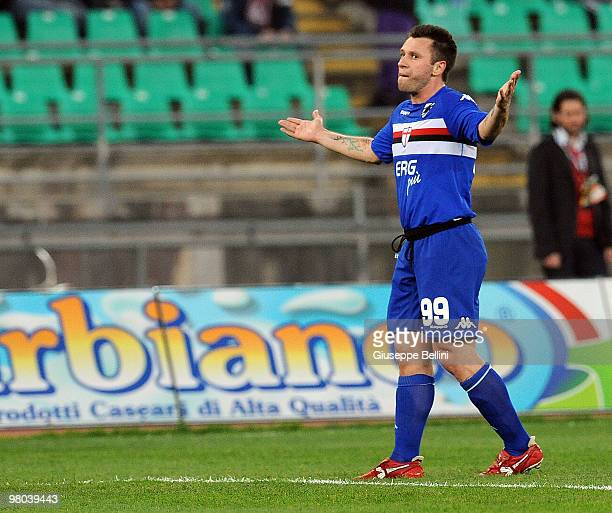 Antonio Cassno of Sampdoria celebrates the opening goal during the Serie A match between AS Bari and UC Sampdoria at Stadio San Nicola on March 24...