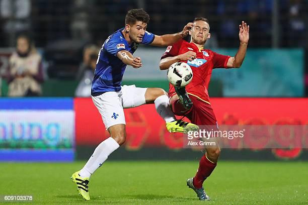 Antonio Colak of Darmstadt is challenged by Pavel Kaderabek of Hoffenheim during the Bundesliga match between SV Darmstadt 98 and TSG 1899 Hoffenheim...