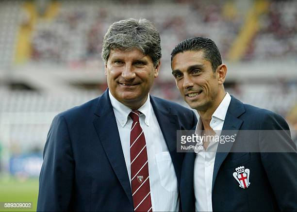 Antonio Comi and Moreno Longo before the Tim Cup 20162017 match between Torino FC and FC Pro Vercelli at the Olympic Stadium of Turin on august 013...
