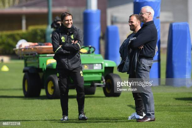 Antonio Conte and Jody Morris of Chelsea with ex Chelsea manager Claudio Ranieri during a training session at Chelsea Training Ground on April 6 2017...