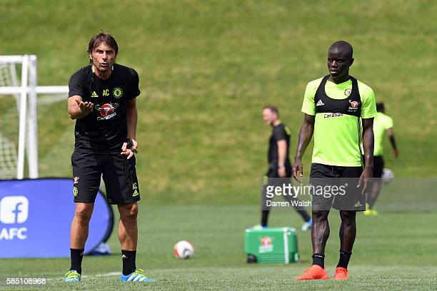 Antonio Conte and N'Golo Kante of Chelsea during a training session at the Minnesota Vikings Training Facility on August 1 2016 in Minneapolis...