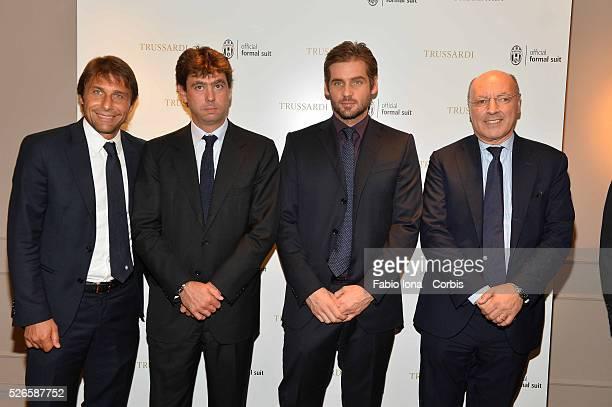 Antonio Conte Andrea Agnelli Tomaso Trussardi and Giuseppe Marotta attend the Trussardi Boutique on September 26 2013 in Turin Italy