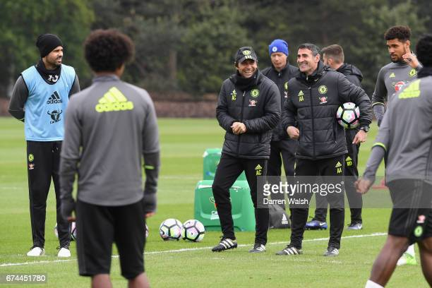Antonio Conte Angelo Alessio of Chelsea during a training session at Chelsea Training Ground on April 28 2017 in Cobham England
