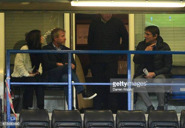 Antonio Conte Chelsea Head Coah and Roman Abramovic Cheslea Chairman watch on during the FA Youth Cup Final second leg between Chelsea and...