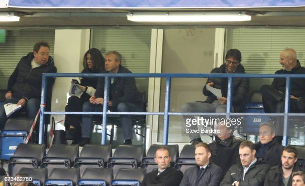 Antonio Conte Chelsea Head Coah Roman Abramovic Cheslea Chairman and former Football player and Coach Leonid Slutsky watch on during the FA Youth Cup...