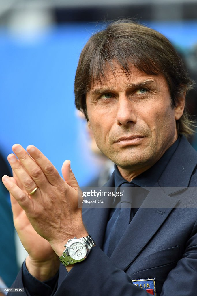 <a gi-track='captionPersonalityLinkClicked' href=/galleries/search?phrase=Antonio+Conte&family=editorial&specificpeople=2379002 ng-click='$event.stopPropagation()'>Antonio Conte</a> coach of Italy reacts during the UEFA EURO 2016 round of 16 match between Italy and Spain at Stade de France on June 27, 2016 in Paris, France.
