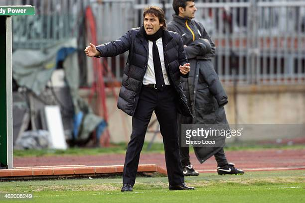 Antonio Conte coach of Juventus reacts during the Serie A match between Cagliari Calcio and Juventus at Stadio Sant'Elia on January 12 2014 in...