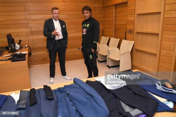 Antonio Conte during his suit fitting at Chelsea Training Ground on July 13 2016 in Cobham England