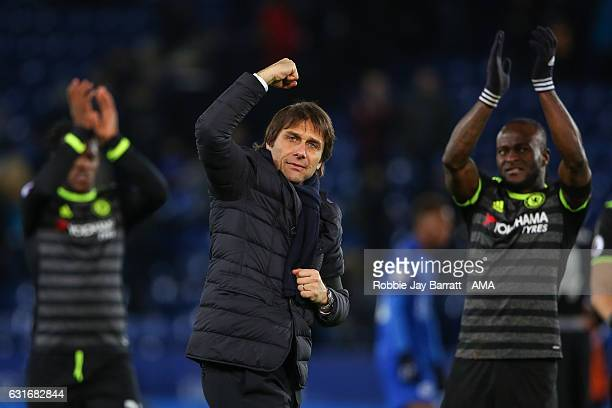 Antonio Conte head coach / manager of Chelsea celebrates at full time during the Premier League match between Leicester City and Chelsea at The King...
