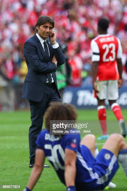 Antonio Conte head coach / manager of Chelsea dejected at full time during the Emirates FA Cup Final match between Arsenal and Chelsea at Wembley...