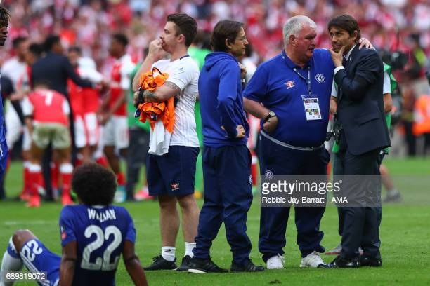 Antonio Conte head coach / manager of Chelsea dejected during the Emirates FA Cup Final match between Arsenal and Chelsea at Wembley Stadium on May...
