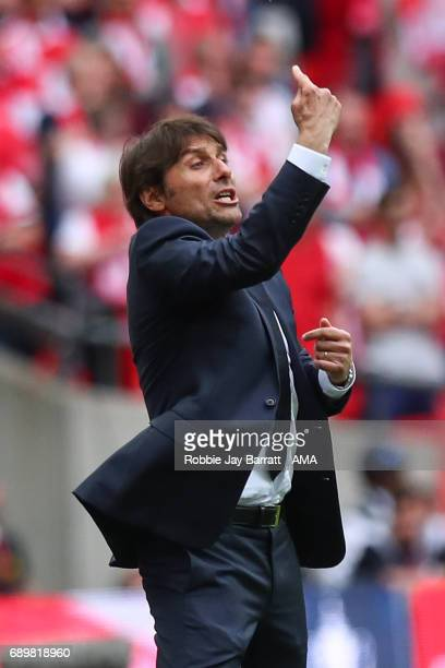 Antonio Conte head coach / manager of Chelsea during the Emirates FA Cup Final match between Arsenal and Chelsea at Wembley Stadium on May 27 2017 in...
