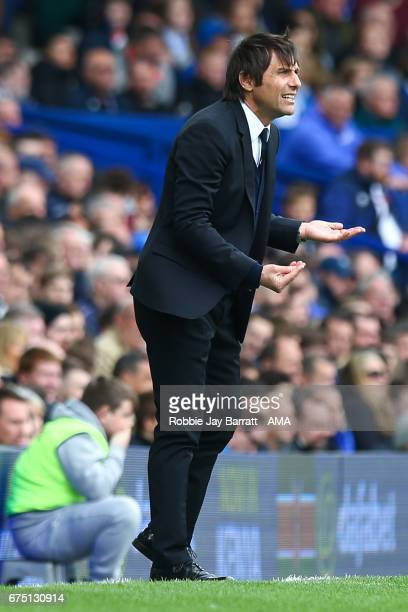 Antonio Conte head coach / manager of Chelsea during the Premier League match between Everton and Chelsea at Goodison Park on April 30 2017 in...