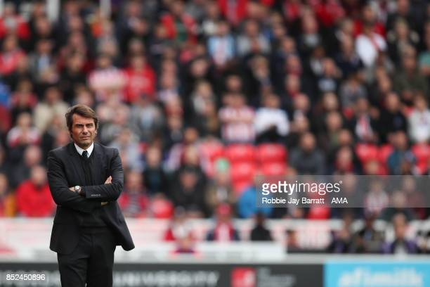 Antonio Conte head coach / manager of Chelsea during the Premier League match between Stoke City and Chelsea at Bet365 Stadium on September 23 2017...