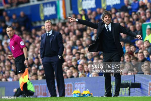 Antonio Conte head coach / manager of Chelsea gestures during the Premier League match between Everton and Chelsea at Goodison Park on April 30 2017...