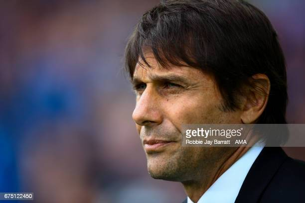 Antonio Conte head coach / manager of Chelsea looks on during the Premier League match between Everton and Chelsea at Goodison Park on April 30 2017...